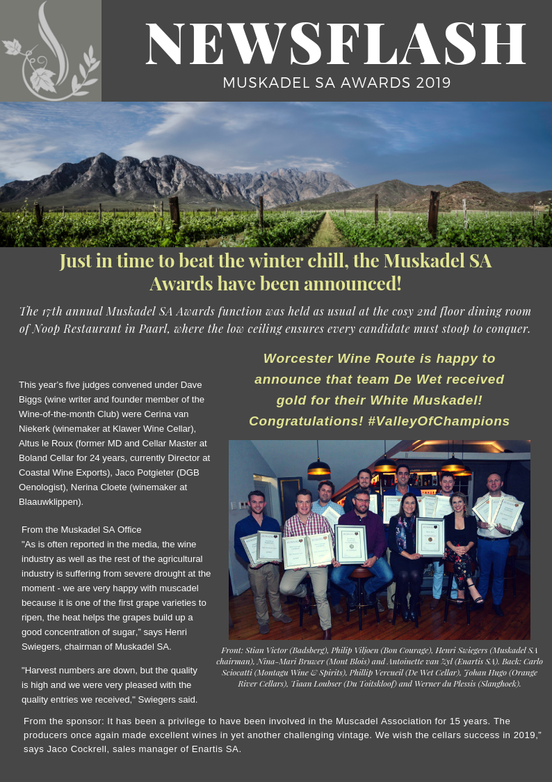 Awards 2019 – Worcester Wine & Olive Route