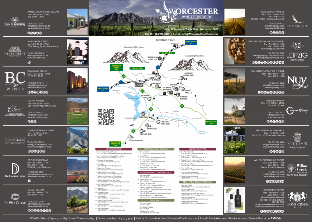 Worcester wine and olive route map download